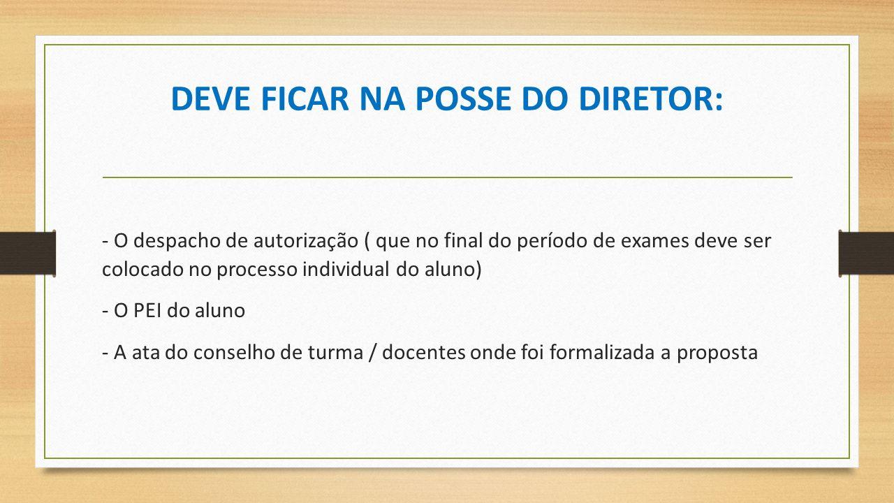 DEVE FICAR NA POSSE DO DIRETOR: - O despacho de autorização ( que no final do período de exames deve ser colocado no processo individual do aluno) - O