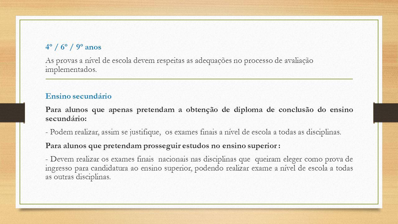 4º / 6º / 9º anos As provas a nível de escola devem respeitas as adequações no processo de avaliação implementados. Ensino secundário Para alunos que
