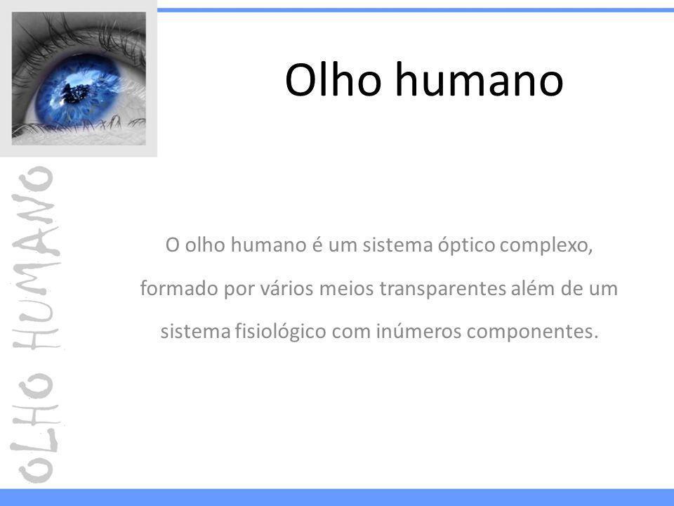Olho humano O olho humano é um sistema óptico complexo, formado por vários meios transparentes além de um sistema fisiológico com inúmeros componentes.