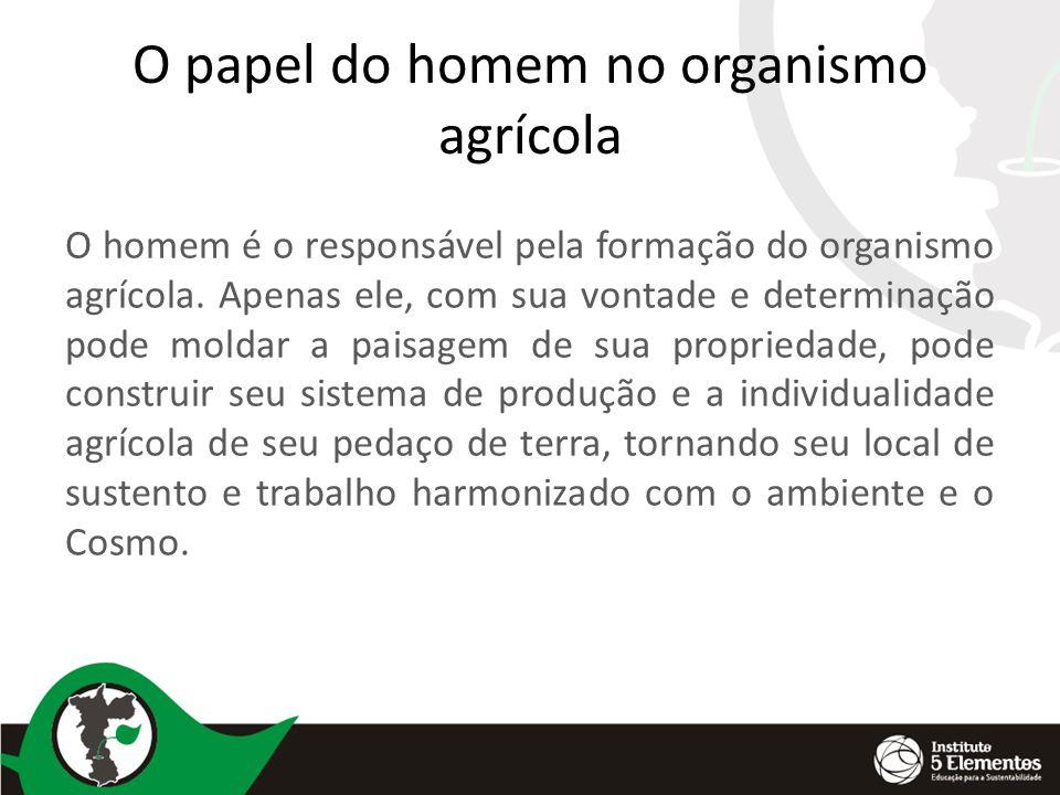O papel do homem no organismo agrícola O homem é o responsável pela formação do organismo agrícola. Apenas ele, com sua vontade e determinação pode mo