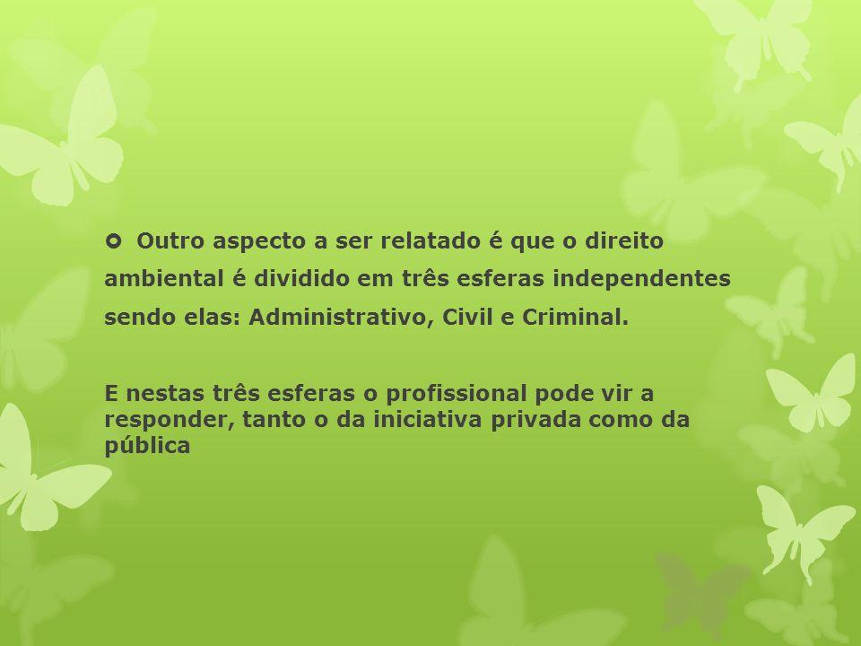 Outro aspecto a ser relatado é que o direito ambiental é dividido em três esferas independentes sendo elas: Administrativo, Civil e Criminal.
