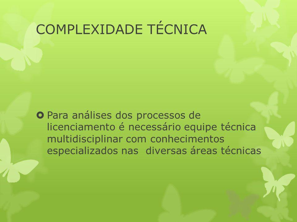 COMPLEXIDADE TÉCNICA Para análises dos processos de licenciamento é necessário equipe técnica multidisciplinar com conhecimentos especializados nas diversas áreas técnicas