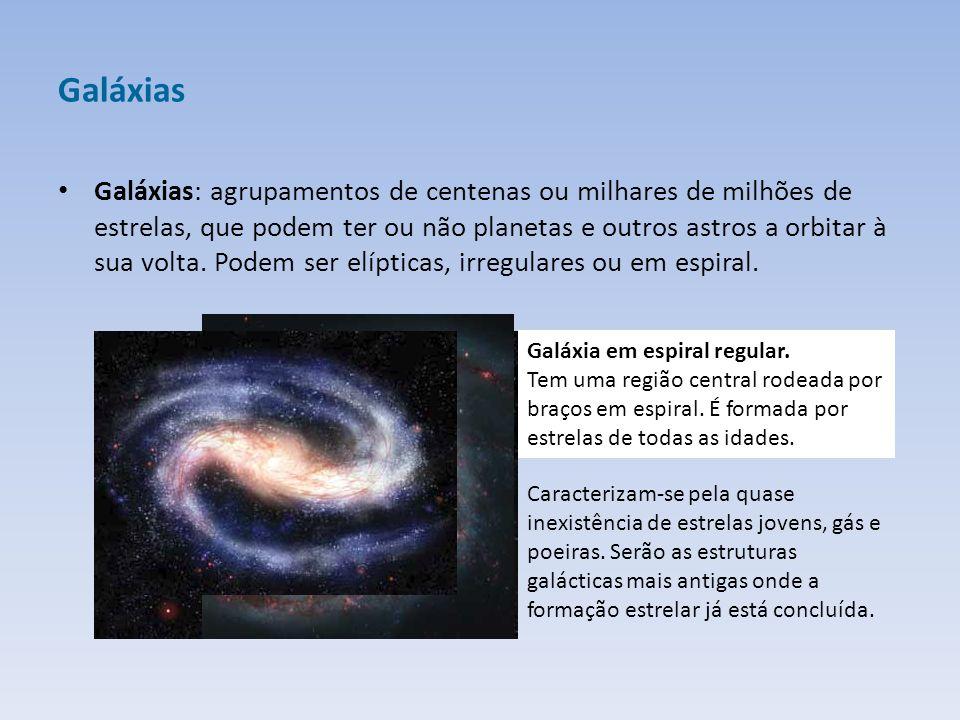 Galáxias Galáxias: agrupamentos de centenas ou milhares de milhões de estrelas, que podem ter ou não planetas e outros astros a orbitar à sua volta.