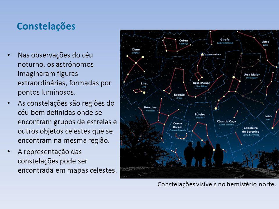 Constelações Nas observações do céu noturno, os astrónomos imaginaram figuras extraordinárias, formadas por pontos luminosos.