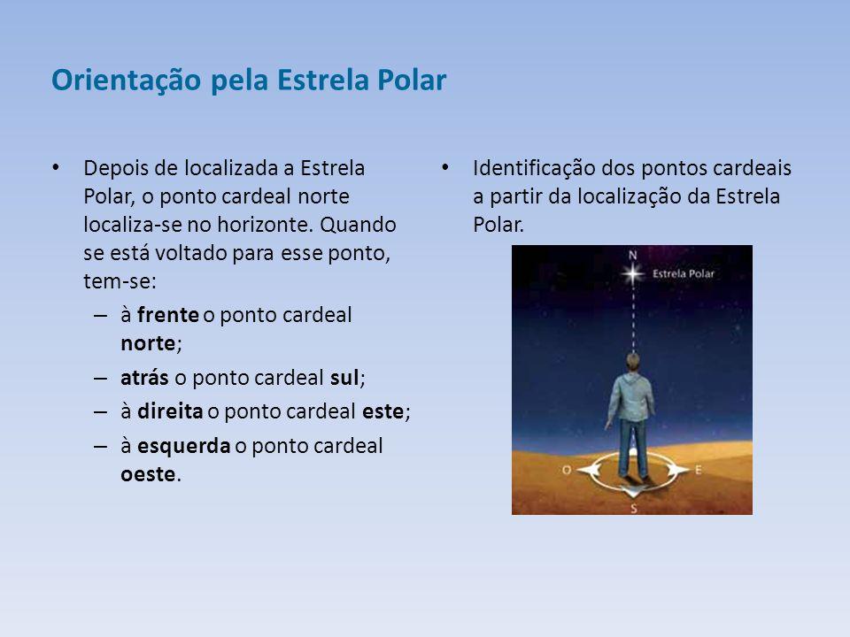 Orientação pela Estrela Polar Depois de localizada a Estrela Polar, o ponto cardeal norte localiza-se no horizonte.