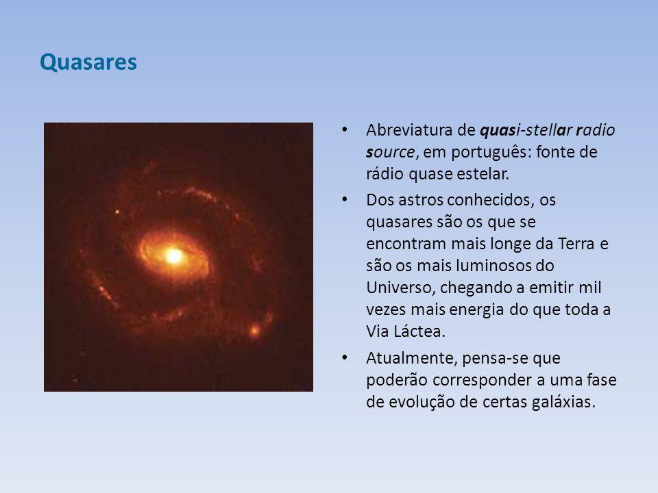 Quasares Abreviatura de quasi-stellar radio source, em português: fonte de rádio quase estelar.