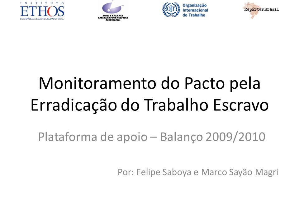 Monitoramento do Pacto pela Erradicação do Trabalho Escravo Plataforma de apoio – Balanço 2009/2010 Por: Felipe Saboya e Marco Sayão Magri