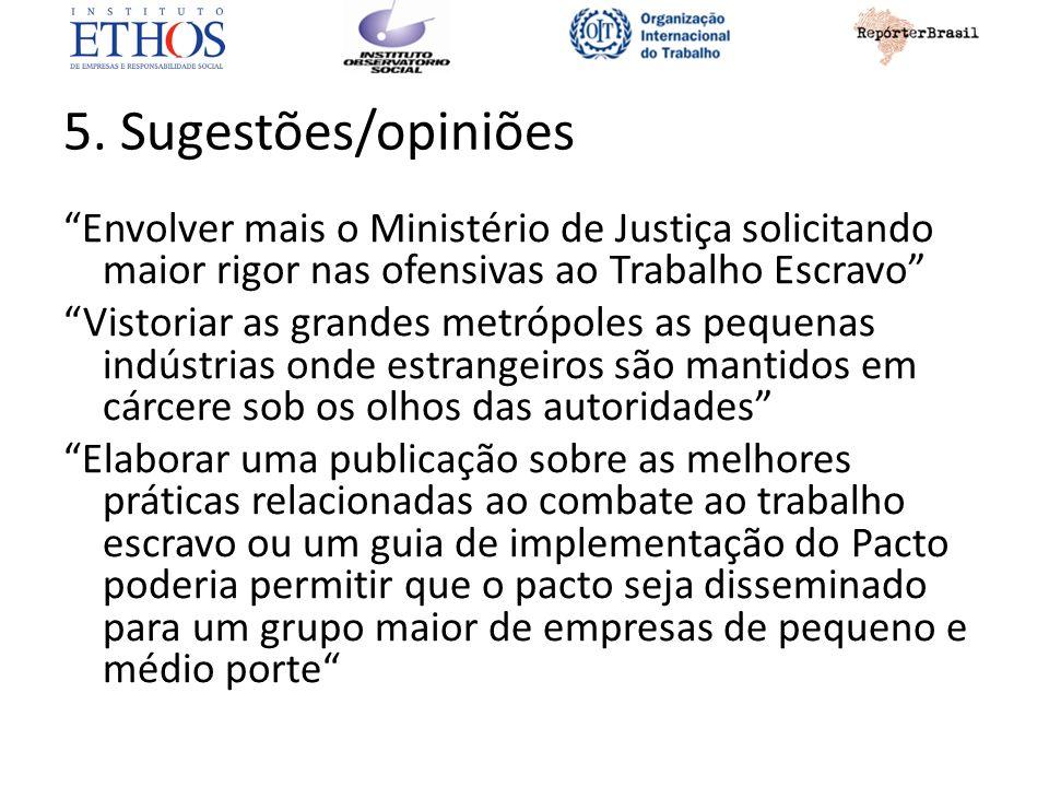 5. Sugestões/opiniões Envolver mais o Ministério de Justiça solicitando maior rigor nas ofensivas ao Trabalho Escravo Vistoriar as grandes metrópoles
