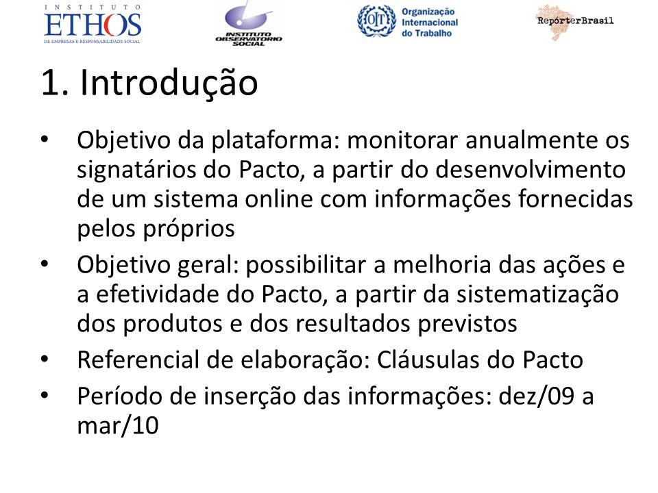 1. Introdução Objetivo da plataforma: monitorar anualmente os signatários do Pacto, a partir do desenvolvimento de um sistema online com informações f
