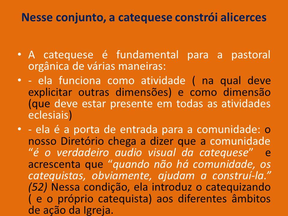 Nesse conjunto, a catequese constrói alicerces A catequese é fundamental para a pastoral orgânica de várias maneiras: - ela funciona como atividade (