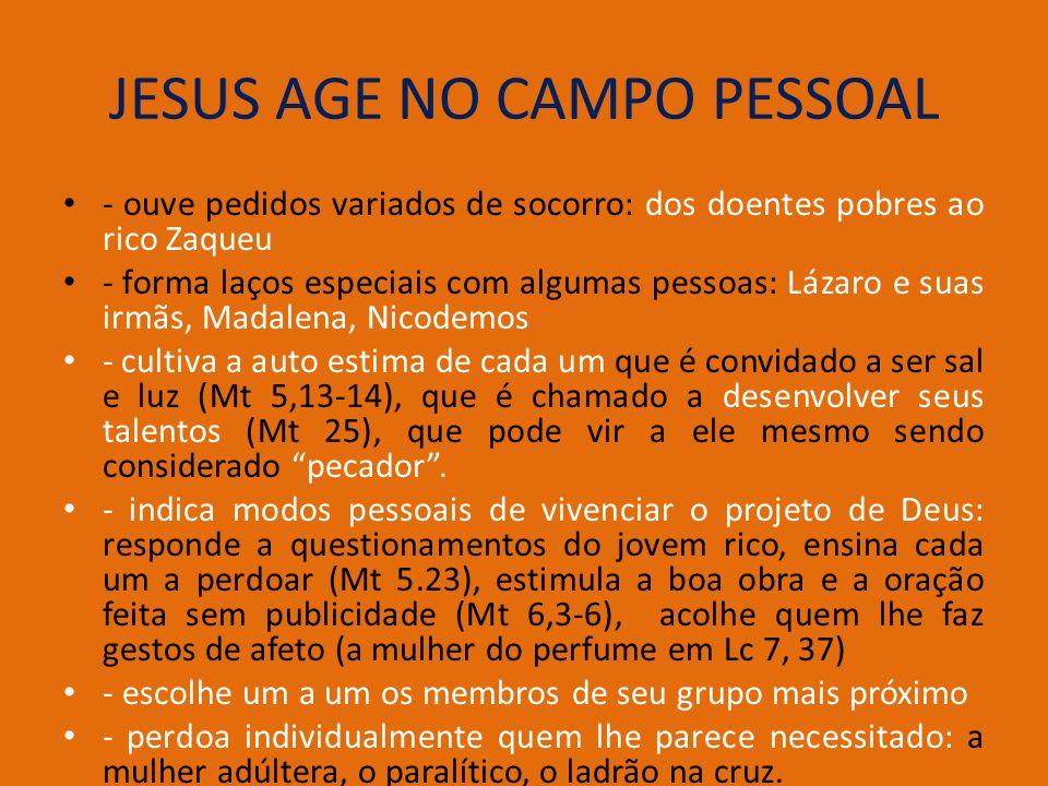 JESUS AGE NO CAMPO PESSOAL - ouve pedidos variados de socorro: dos doentes pobres ao rico Zaqueu - forma laços especiais com algumas pessoas: Lázaro e