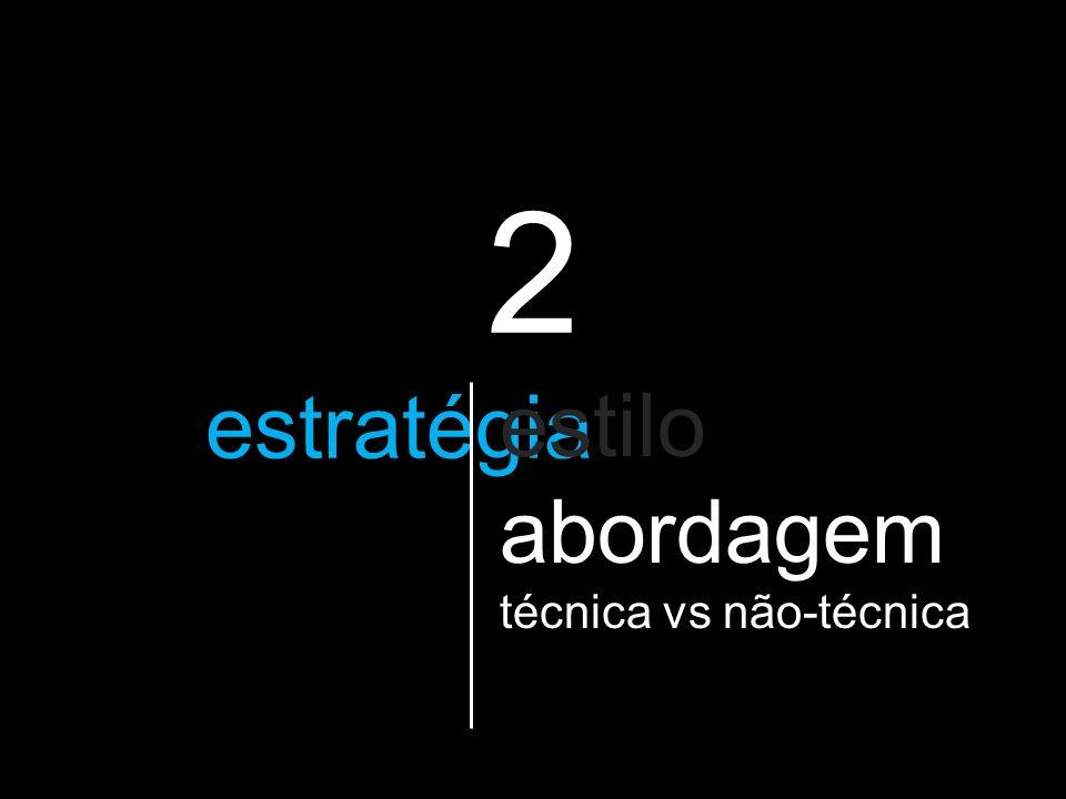 2 a estratégia que vão utilizar estilo abordagem técnica vs não-técnica