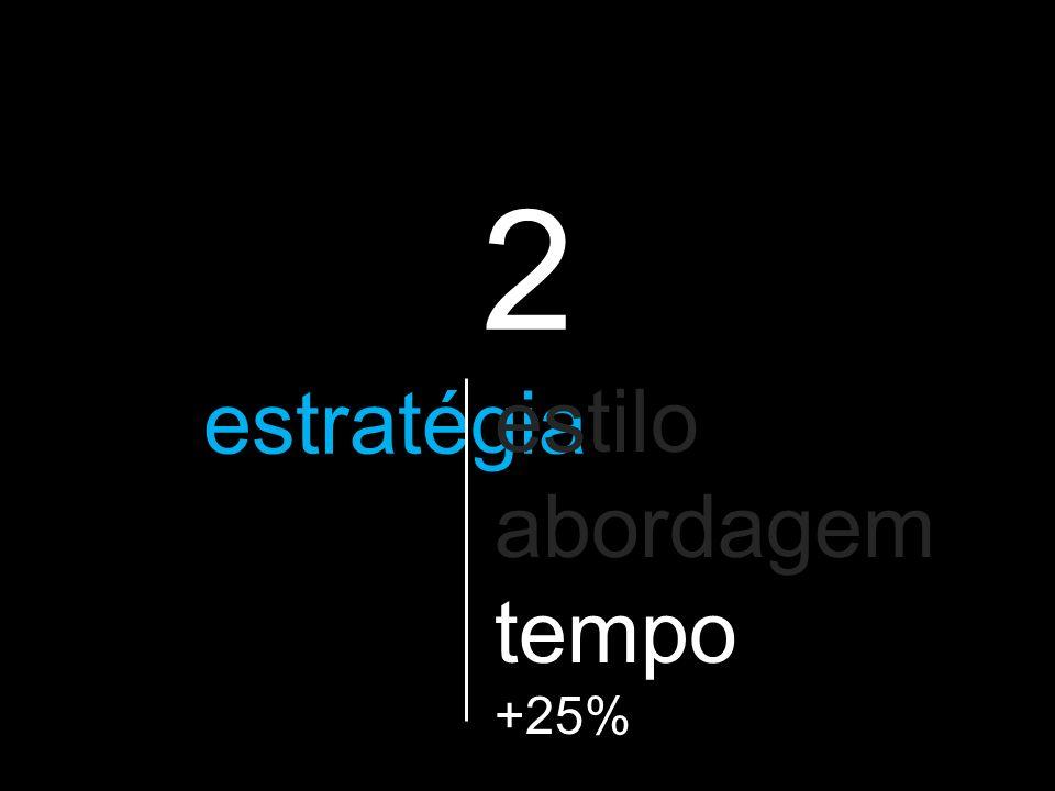 2 a estratégia que vão utilizar estilo abordagem tempo +25%