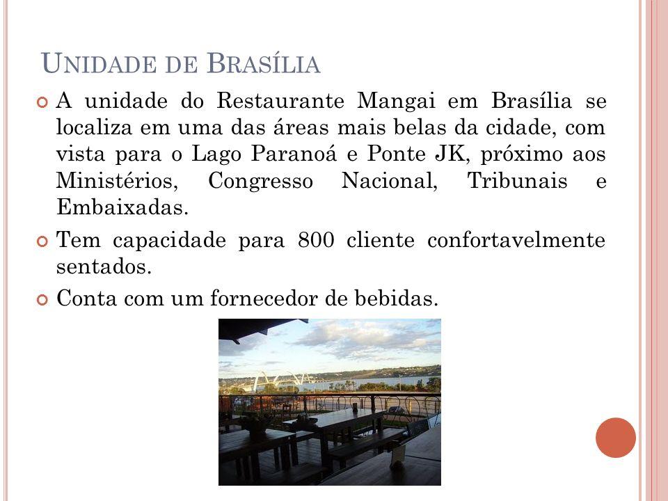 U NIDADE DE B RASÍLIA A unidade do Restaurante Mangai em Brasília se localiza em uma das áreas mais belas da cidade, com vista para o Lago Paranoá e P