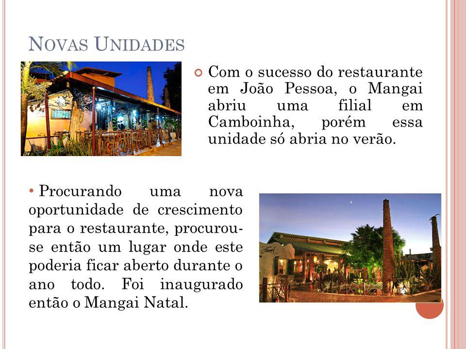 N OVAS U NIDADES Com o sucesso do restaurante em João Pessoa, o Mangai abriu uma filial em Camboinha, porém essa unidade só abria no verão. Procurando