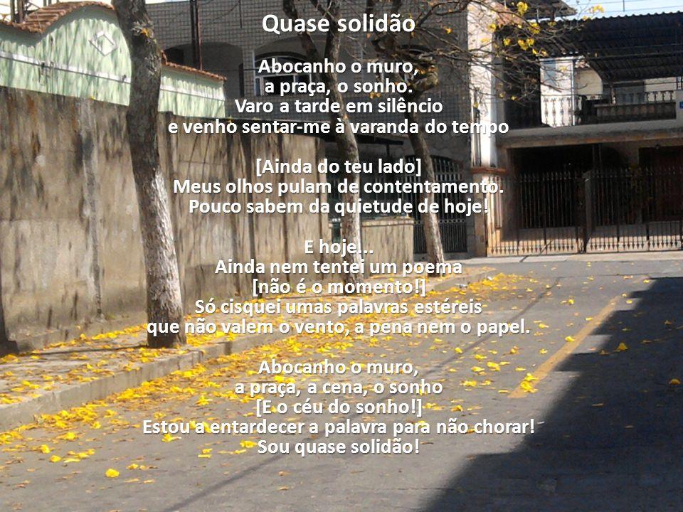 Quase solidão Abocanho o muro, a praça, o sonho. Varo a tarde em silêncio e venho sentar-me à varanda do tempo [Ainda do teu lado] Meus olhos pulam de