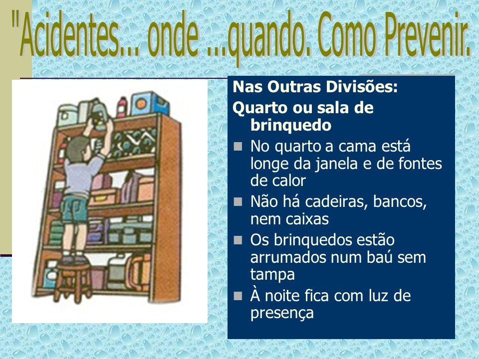 Nas Outras Divisões: Quarto ou sala de brinquedo No quarto a cama está longe da janela e de fontes de calor Não há cadeiras, bancos, nem caixas Os bri
