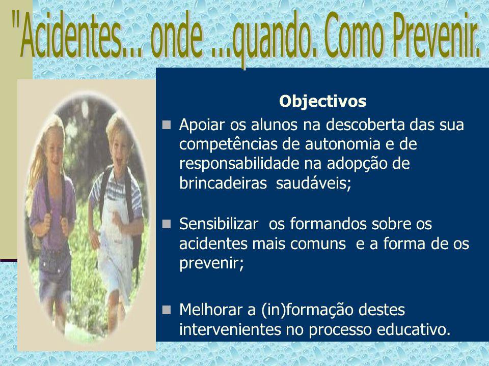 Objectivos Apoiar os alunos na descoberta das sua competências de autonomia e de responsabilidade na adopção de brincadeiras saudáveis; Sensibilizar o