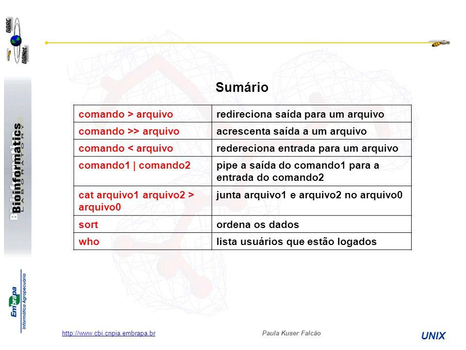 Paula Kuser Falcão UNIX http://www.cbi.cnpia.embrapa.br Sumário comando > arquivoredireciona saída para um arquivo comando >> arquivoacrescenta saída