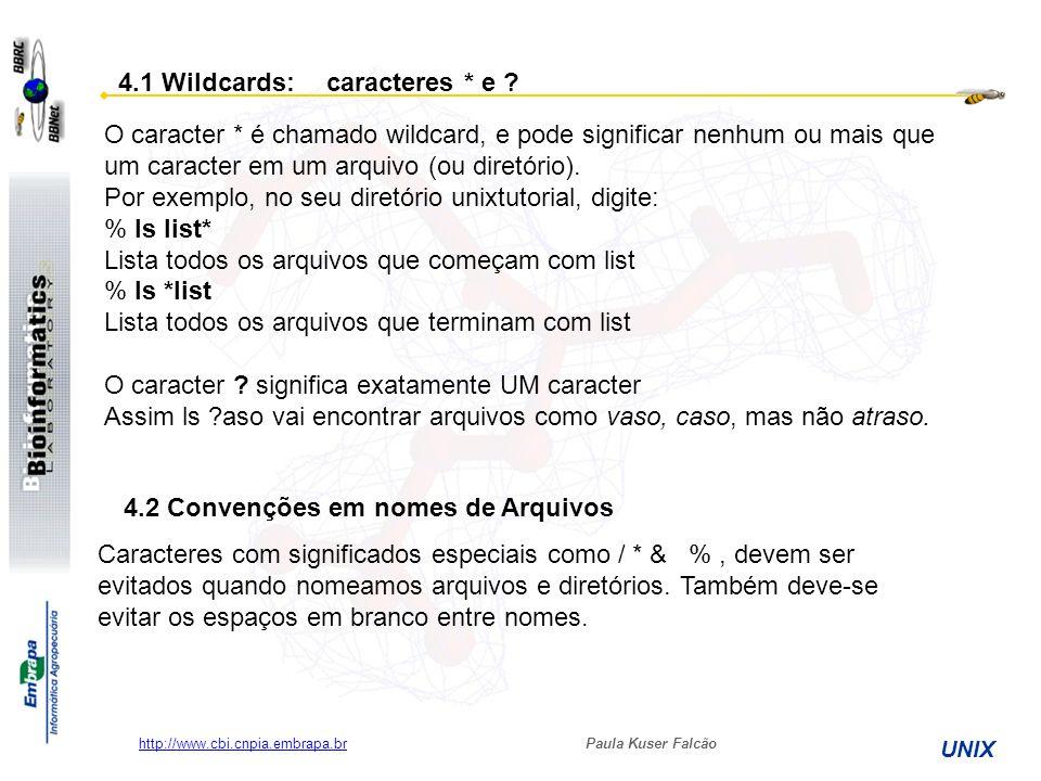 Paula Kuser Falcão UNIX http://www.cbi.cnpia.embrapa.br O caracter * é chamado wildcard, e pode significar nenhum ou mais que um caracter em um arquiv