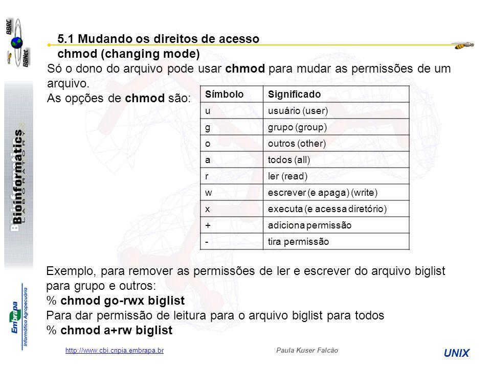 Paula Kuser Falcão UNIX http://www.cbi.cnpia.embrapa.br 5.1 Mudando os direitos de acesso chmod (changing mode) Só o dono do arquivo pode usar chmod p