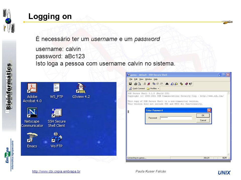 Paula Kuser Falcão UNIX http://www.cbi.cnpia.embrapa.br username: calvin password: aBc123 Isto loga a pessoa com username calvin no sistema. Logging o