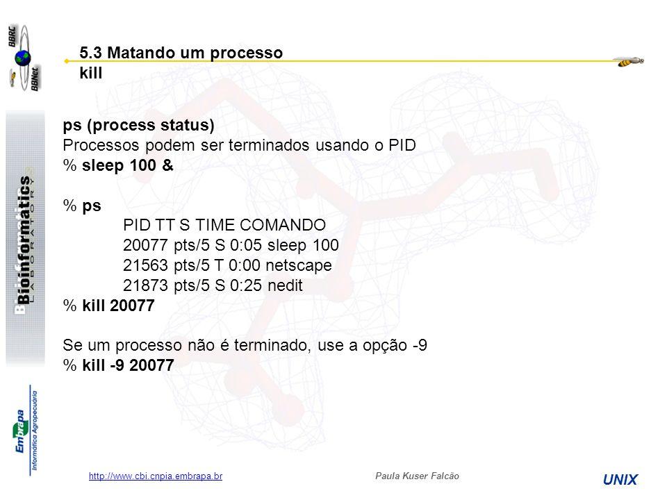 Paula Kuser Falcão UNIX http://www.cbi.cnpia.embrapa.br ps (process status) Processos podem ser terminados usando o PID % sleep 100 & % ps PID TT S TI