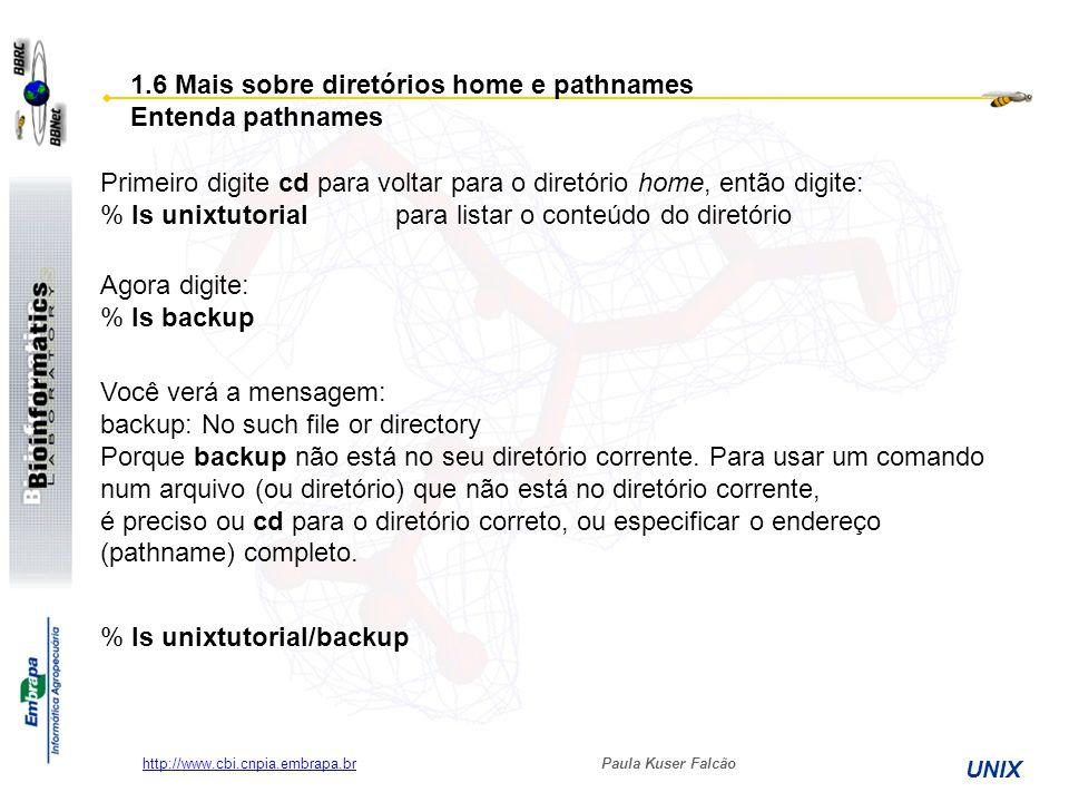 Paula Kuser Falcão UNIX http://www.cbi.cnpia.embrapa.br % ls unixtutorial/backup 1.6 Mais sobre diretórios home e pathnames Entenda pathnames Primeiro