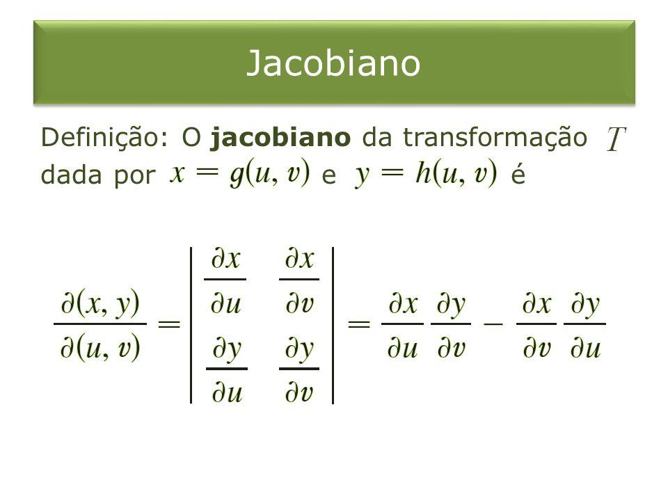 Jacobiano Definição: O jacobiano da transformação dada por e é