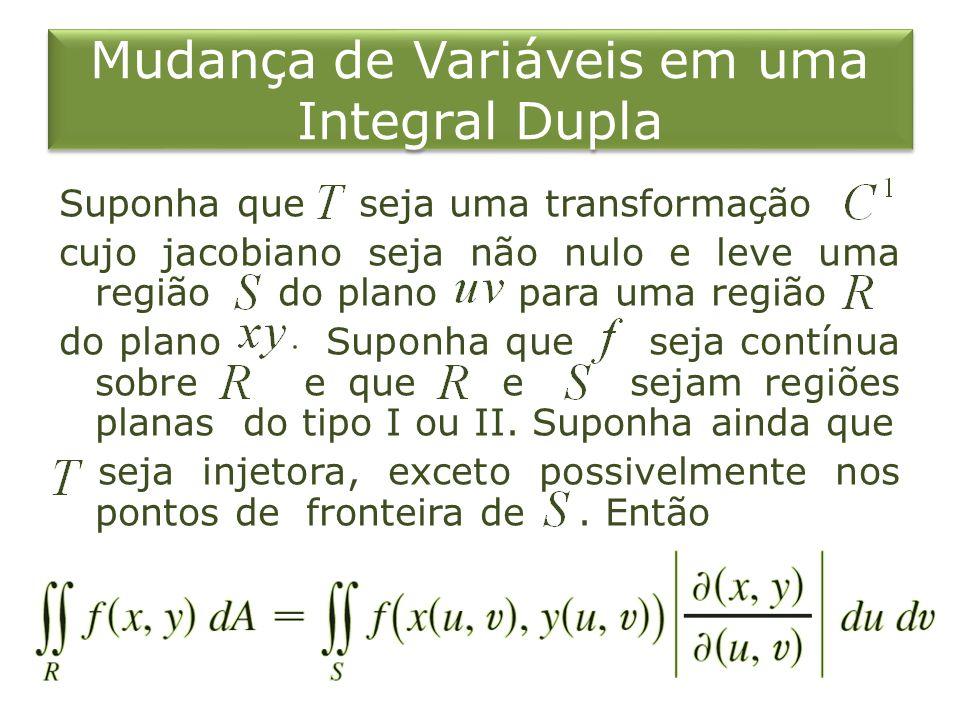 Mudança de Variáveis em uma Integral Dupla Suponha que seja uma transformação cujo jacobiano seja não nulo e leve uma região do plano para uma região