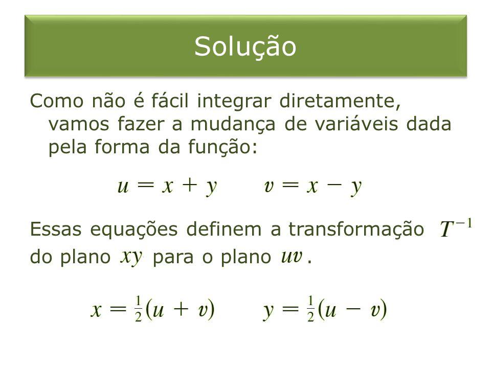 Solução Como não é fácil integrar diretamente, vamos fazer a mudança de variáveis dada pela forma da função: Essas equações definem a transformação do