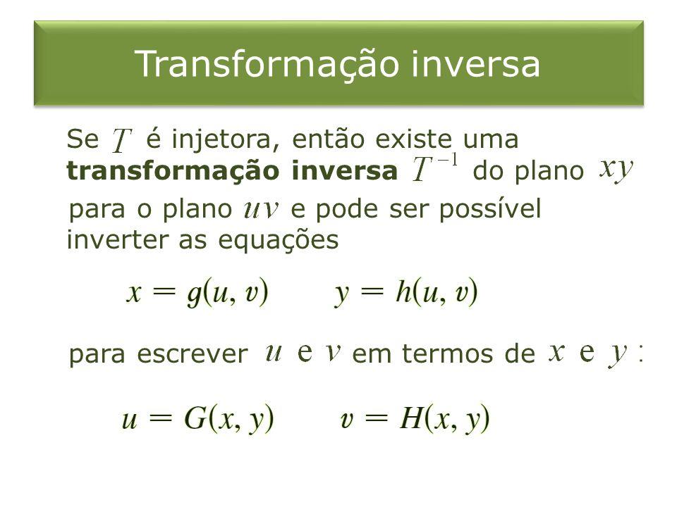 Transformação inversa Se é injetora, então existe uma transformação inversa do plano para o plano e pode ser possível inverter as equações para escrev