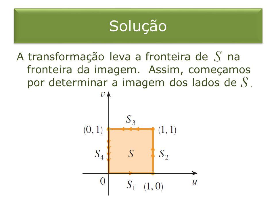 Solução A transformação leva a fronteira de na fronteira da imagem. Assim, começamos por determinar a imagem dos lados de