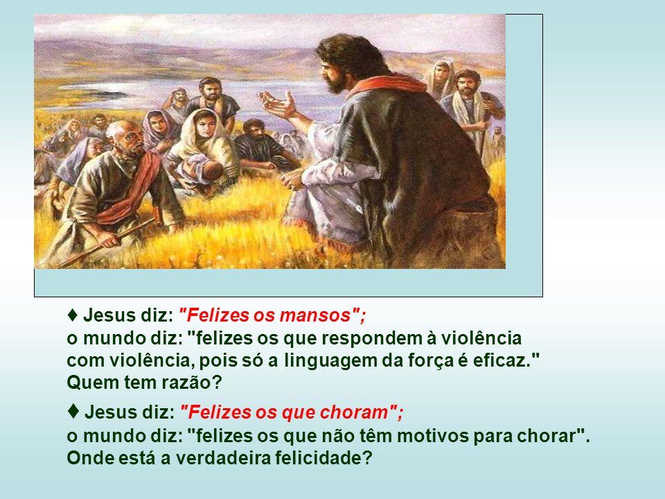 Jesus diz: Felizes os mansos ; o mundo diz: felizes os que respondem à violência com violência, pois só a linguagem da força é eficaz. Quem tem razão.