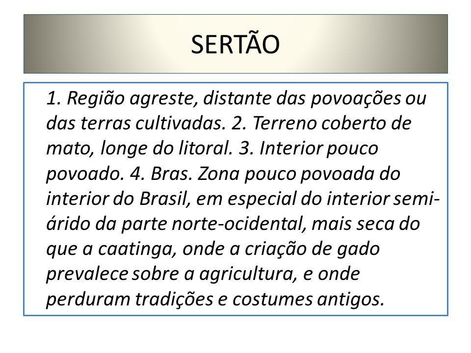 SERTÃO 1.Região agreste, distante das povoações ou das terras cultivadas.