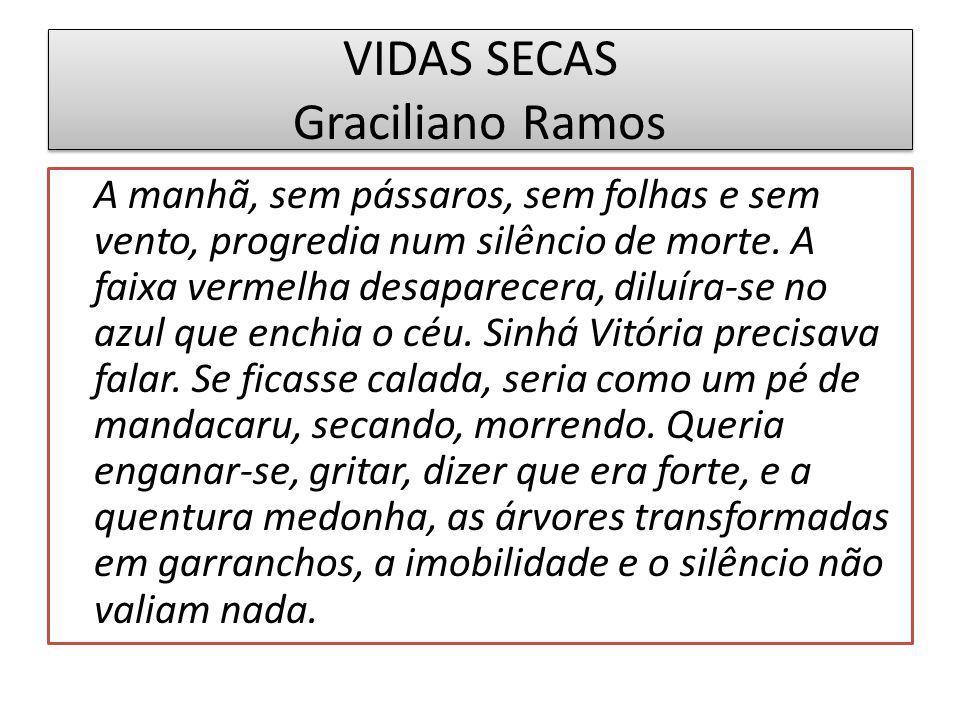 VIDAS SECAS Graciliano Ramos A manhã, sem pássaros, sem folhas e sem vento, progredia num silêncio de morte.