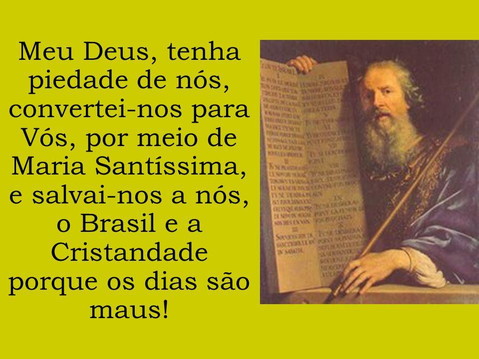 Meu Deus, tenha piedade de nós, convertei-nos para Vós, por meio de Maria Santíssima, e salvai-nos a nós, o Brasil e a Cristandade porque os dias são