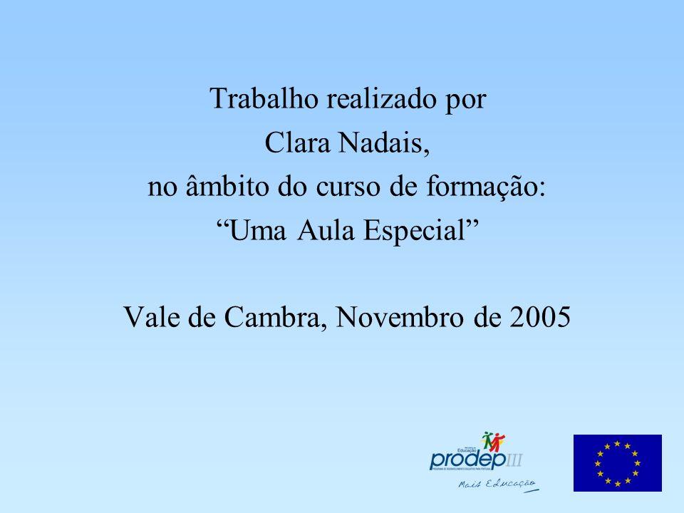 Trabalho realizado por Clara Nadais, no âmbito do curso de formação: Uma Aula Especial Vale de Cambra, Novembro de 2005
