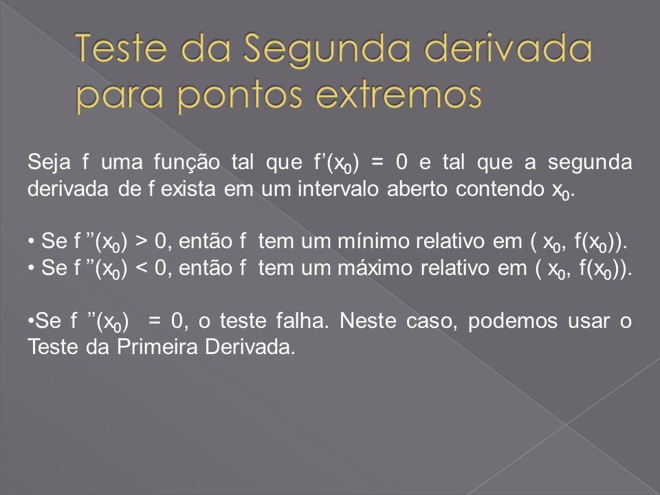 Seja f uma função tal que f(x 0 ) = 0 e tal que a segunda derivada de f exista em um intervalo aberto contendo x 0. Se f (x 0 ) > 0, então f tem um mí