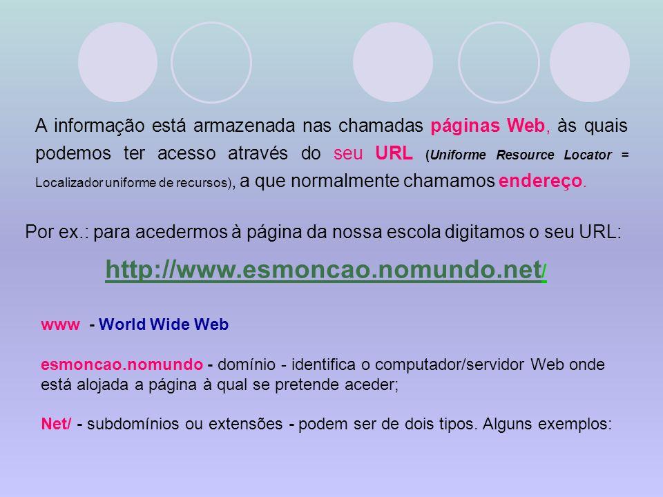 A informação está armazenada nas chamadas páginas Web, às quais podemos ter acesso através do seu URL (Uniforme Resource Locator = Localizador uniforme de recursos), a que normalmente chamamos endereço.