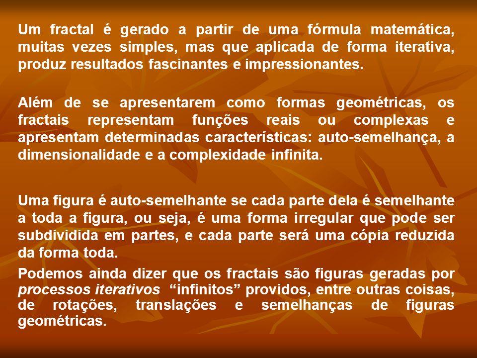 Um fractal é gerado a partir de uma fórmula matemática, muitas vezes simples, mas que aplicada de forma iterativa, produz resultados fascinantes e imp