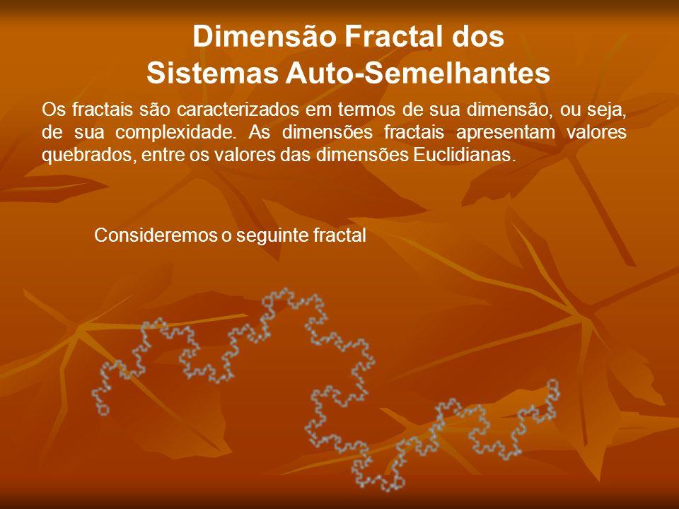 Consideremos o seguinte fractal Dimensão Fractal dos Sistemas Auto-Semelhantes Os fractais são caracterizados em termos de sua dimensão, ou seja, de s