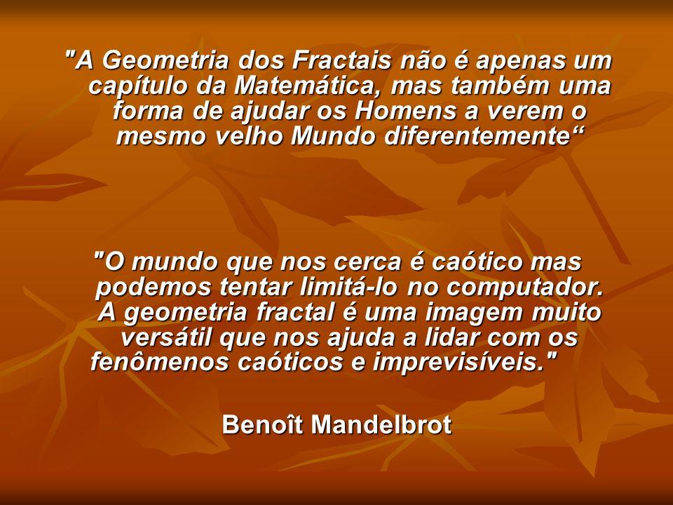 Nas últimas décadas aconteceram investigações cujo tema central foi a construção e o estudo de novos objetos geométricos, denominados FRACTAIS pelo seu iniciador, Benoit Mandelbrot.