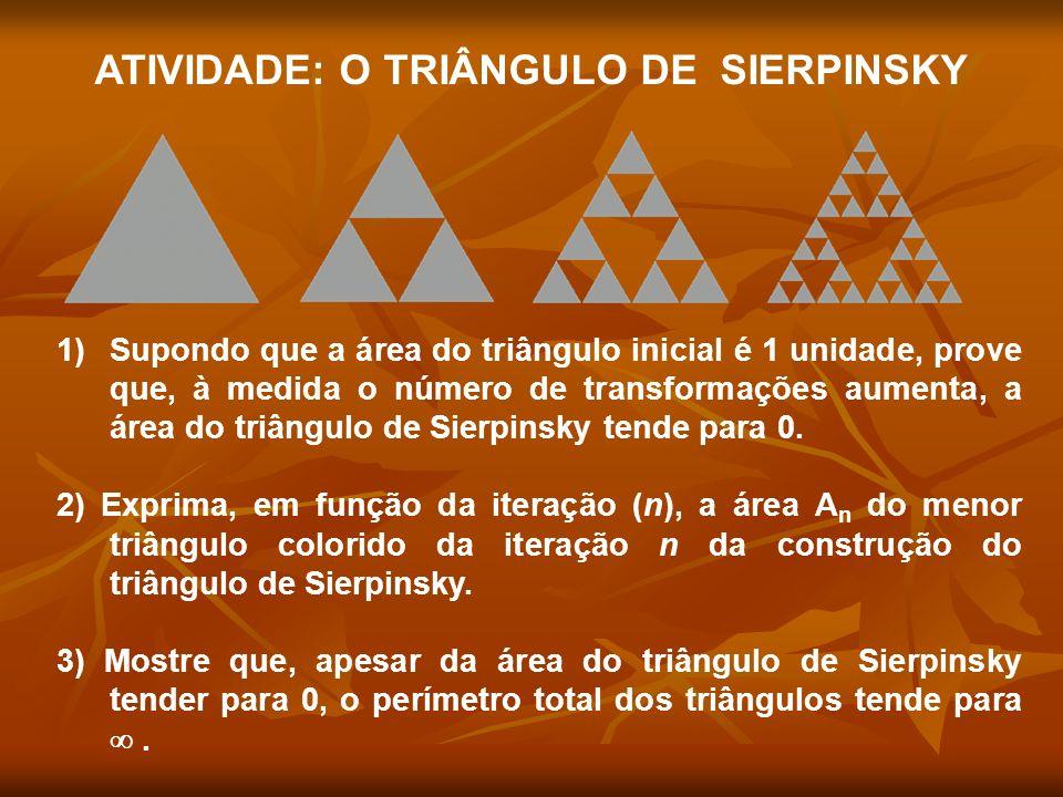 ATIVIDADE: O TRIÂNGULO DE SIERPINSKY 1)Supondo que a área do triângulo inicial é 1 unidade, prove que, à medida o número de transformações aumenta, a