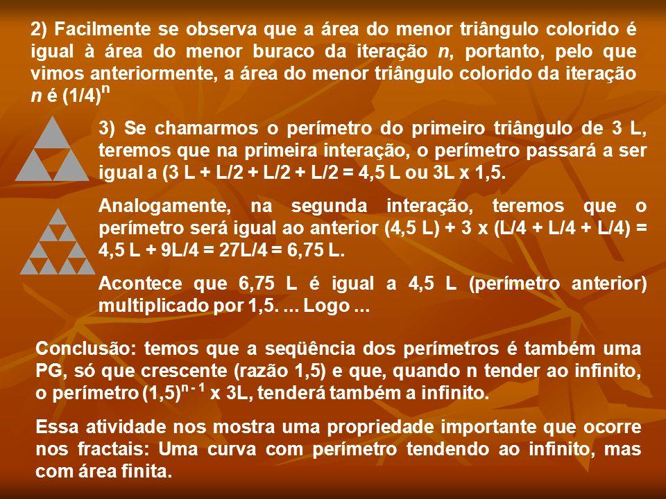 2) Facilmente se observa que a área do menor triângulo colorido é igual à área do menor buraco da iteração n, portanto, pelo que vimos anteriormente,