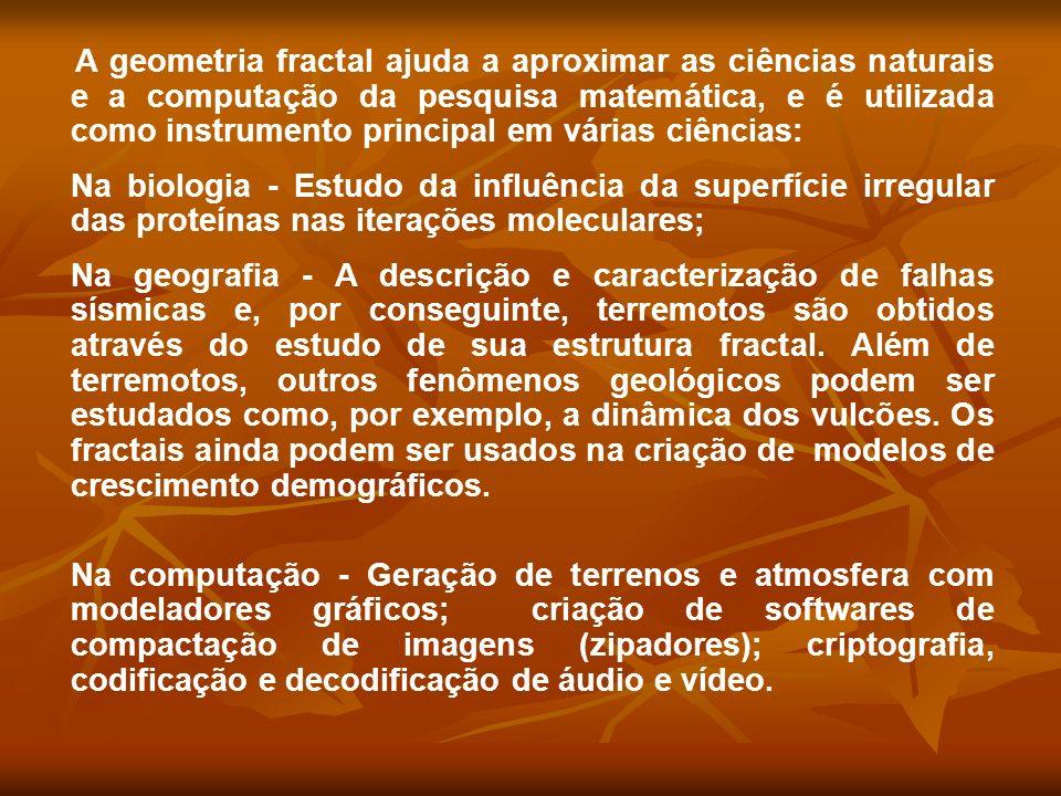 A geometria fractal ajuda a aproximar as ciências naturais e a computação da pesquisa matemática, e é utilizada como instrumento principal em várias c
