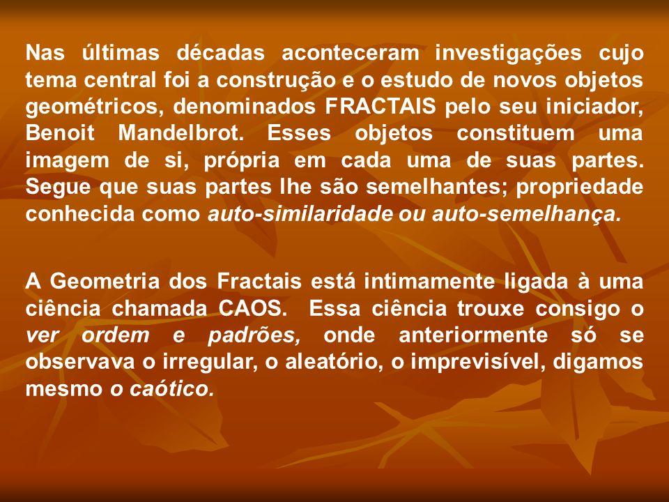 Nas últimas décadas aconteceram investigações cujo tema central foi a construção e o estudo de novos objetos geométricos, denominados FRACTAIS pelo se