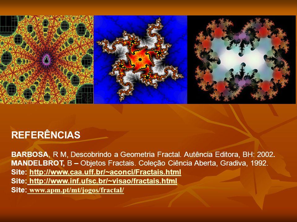 REFERÊNCIAS BARBOSA, R M, Descobrindo a Geometria Fractal. Autência Editora, BH: 2002. MANDELBROT, B – Objetos Fractais. Coleção Ciência Aberta, Gradi