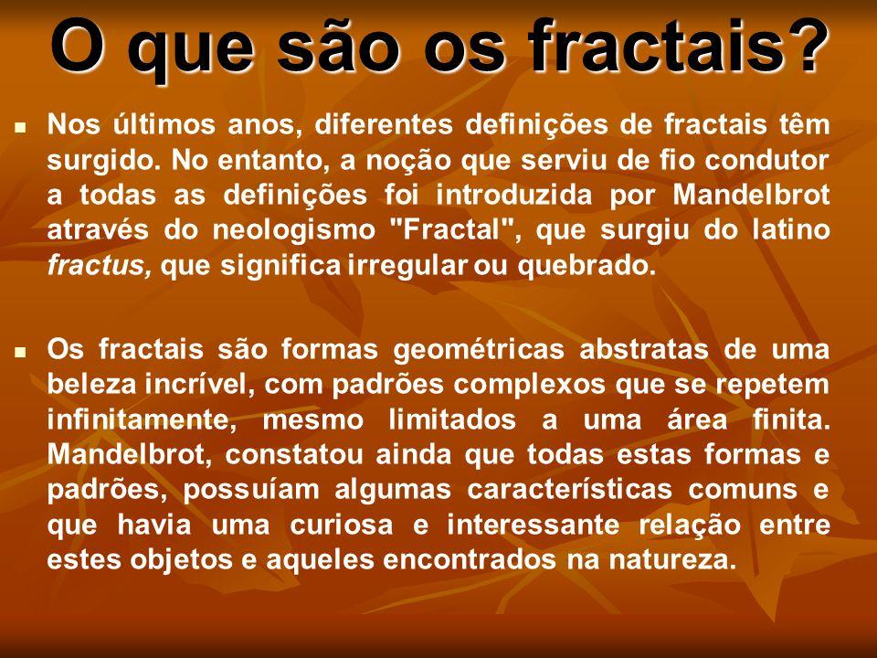O que são os fractais? Nos últimos anos, diferentes definições de fractais têm surgido. No entanto, a noção que serviu de fio condutor a todas as defi
