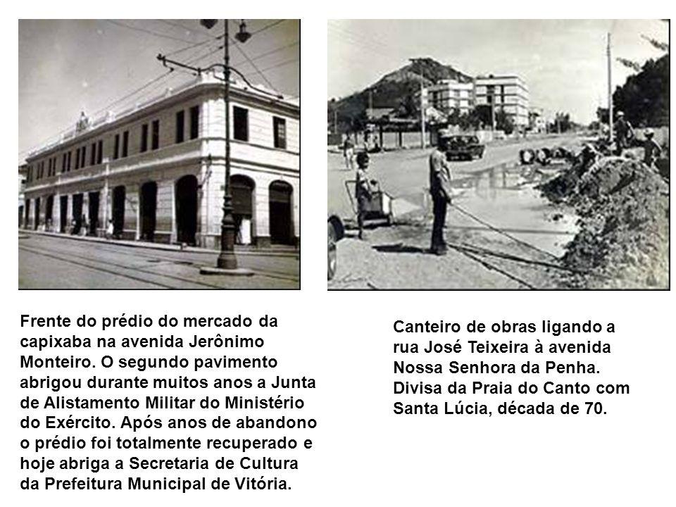 Av. Jerônimo Monteiro; vê-se o Cine Juparanã (em primeiro plano) onde funcionou a DIT; os prédios da Cine Glória e do antigo Banco Nacional; considera